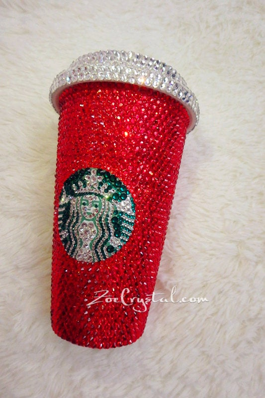 Bedazzled BLING STARBUCKS Coffee Cup Mug Tumbler Glitter Sparky Shinny w Swarovski Crystal Rhinestone Ruby - Red horizontal bejeweled Zoe