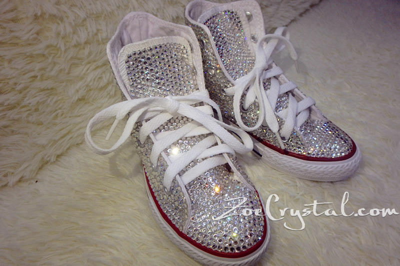 Bling CONVERSE Chuck Taylor All Star SNEAKERS with Clear White Crystal c38805c77