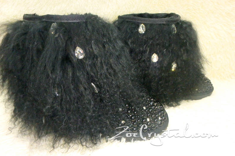New Color**PROMOTION: WINTER Bling and Sparkly Black Curly Fur SheepSkin Wool Boots w Pearls and Big STONES