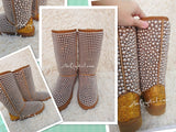 New Color**PROMOTION WINTER Bling and Sparkly Tall Brown and Gold Pearls SheepSkin Wool BOOTS w shinning Czech or Swarovski crystals