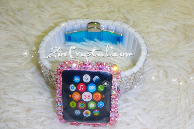 Apple Watch Bling Bedazzled Pink Mixed Ab Crystal Case Protector Cover with a Silver White Swarovski Glitter Strass Band Strap