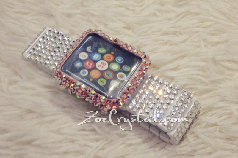 Bling Apple Watch Pink Mixed Ab Crystal Case/Protector/Cover with a Silver White Swarovski iWatch Band / Strap
