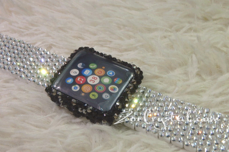 Bling Apple Watch Black Mixed Grey Crystal Case/Protector/Cover with a Silver White Swarovski iWatch Band/Strap
