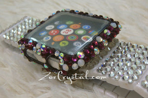 Bling Apple Watch Purple Mixed Ab opal  Crystal Case/Protector/Cover with a White Swarovski iWatch Band/Strap