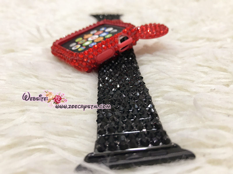 Bling Apple Watch Red Swarovski Crystal Mickey Case / Protector / Cover with a White/Black Rhinestone iWatch Band / Strap
