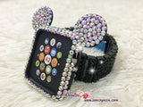 BEDAZZLED Apple Watch ab White Swarovski Mickey Case/ Protector / Cover with a Black Rhinestone iWatch Band / Strap
