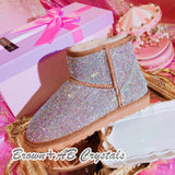 New**Super Bling and Sparkly Short SheepSkin Wool BOOTS w shinning Czech crystals