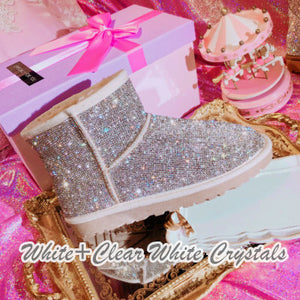 Super Bling and Sparkly Short SheepSkin Wool BOOTS w shinning Czech crystals