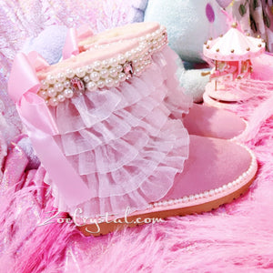 Pink Lace lace Sheepskin Fleech/Wool Boots with shinning and Cute Pearls - Princess Style