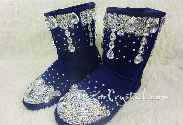 PROMOTION WINTER Blue Leather Sheepskin Fleech/Wool Boots with shinning and stylish CRYSTALS
