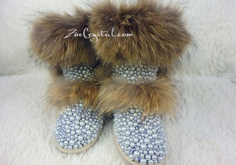 New Color**PROMOTION WINTER Bling and Sparkly Double Layers Fur SheepSkin Wool BOOTS w shinning Czech or Swarovski Crystals and Pearls