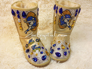 Footballer Style Gold Winter White Sheepskin Fleech/Wool Boots