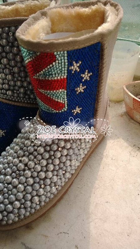 New**England Flag Style WINTER Bling and Sparkly Creamy White Pearls Wool BOOTS w shinning Czech or Swarovski crystals