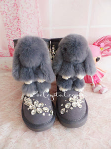 PROMOTION WINTER Bling and Sparkly Rabbit Fur SheepSkin Wool BOOTS w shinning Czech or Swarovski Crystals