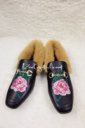 New**Bling and Sparkly Rose Print Leather with Fur Slipper made of Czech / Swarovski crystals