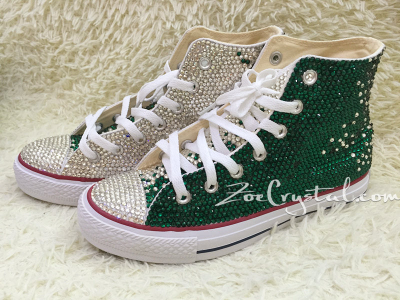 b01eba8d106a1c Bling CONVERSE Chuck Taylor All Star SNEAKERS with Clear White and Green  Crystal