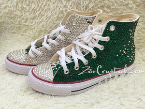 Bling CONVERSE Chuck Taylor All Star SNEAKERS with Clear White and Green Crystal