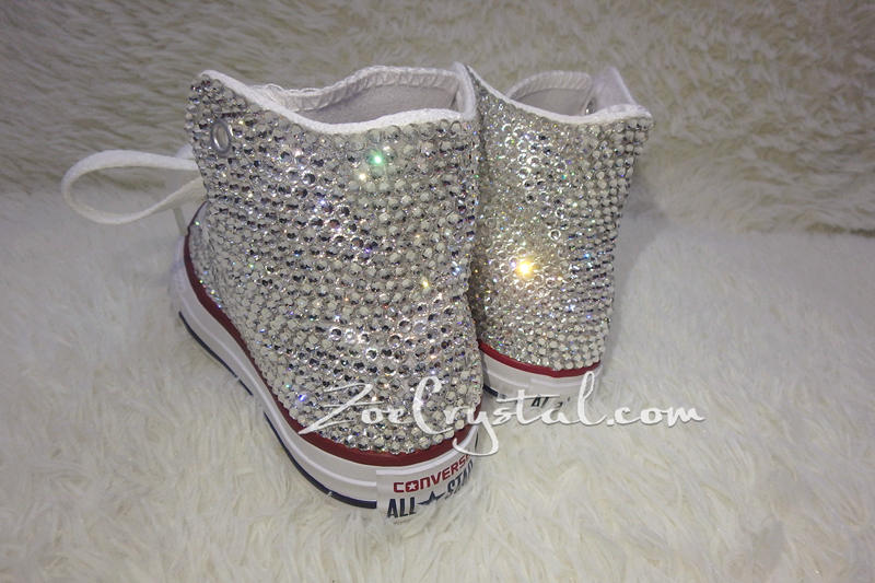 Bling CONVERSE Chuck Taylor All Star SNEAKERS with Clear White Crystal b4bb6372f