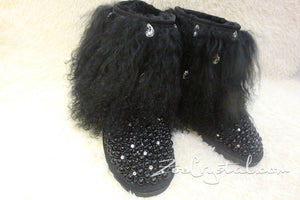 PROMOTION: WINTER Bling and Sparkly Black Curly Fur SheepSkin Wool Boots w Pearls and Big STONES