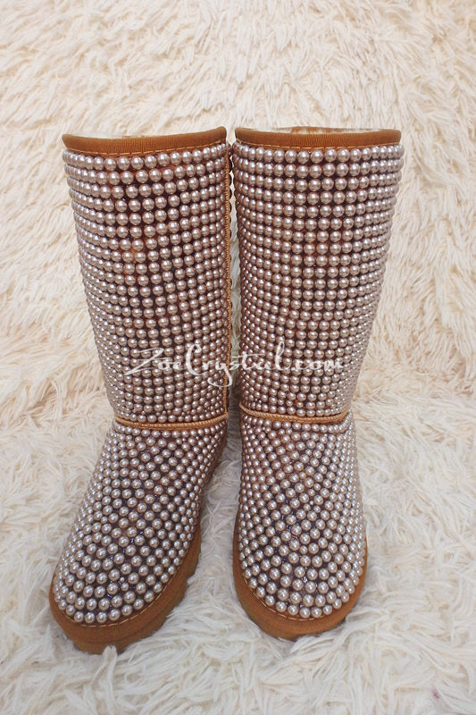 PROMOTION WINTER Bling and Sparkly Tall Brown and Gold Pearls SheepSkin Wool BOOTS w shinning Czech or Swarovski crystals