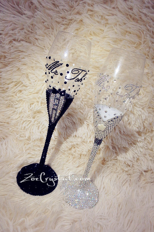 WEDDING BRIDE GROOM Champagne Toasting Flutes or Glasses with Bling & Bedazzled Crystal Rhinestones Optional to pick Swarovski