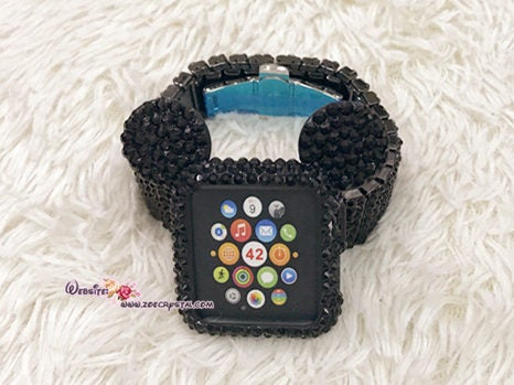 Bling Apple Watch Black Swarovski Mickey Case/ Protector / Cover with a White/Black Rhinestone iWatch Band / Strap