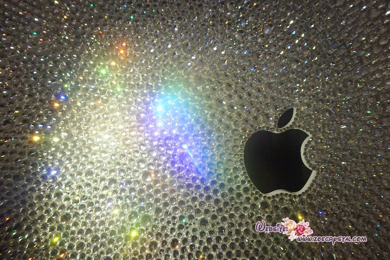 MACBOOK Air or Pro Case / Cover in CLEAR WHITE Crystals Rhinestone Random Sizes Pattern Add Name or Words Shinny Glitter Sparkly