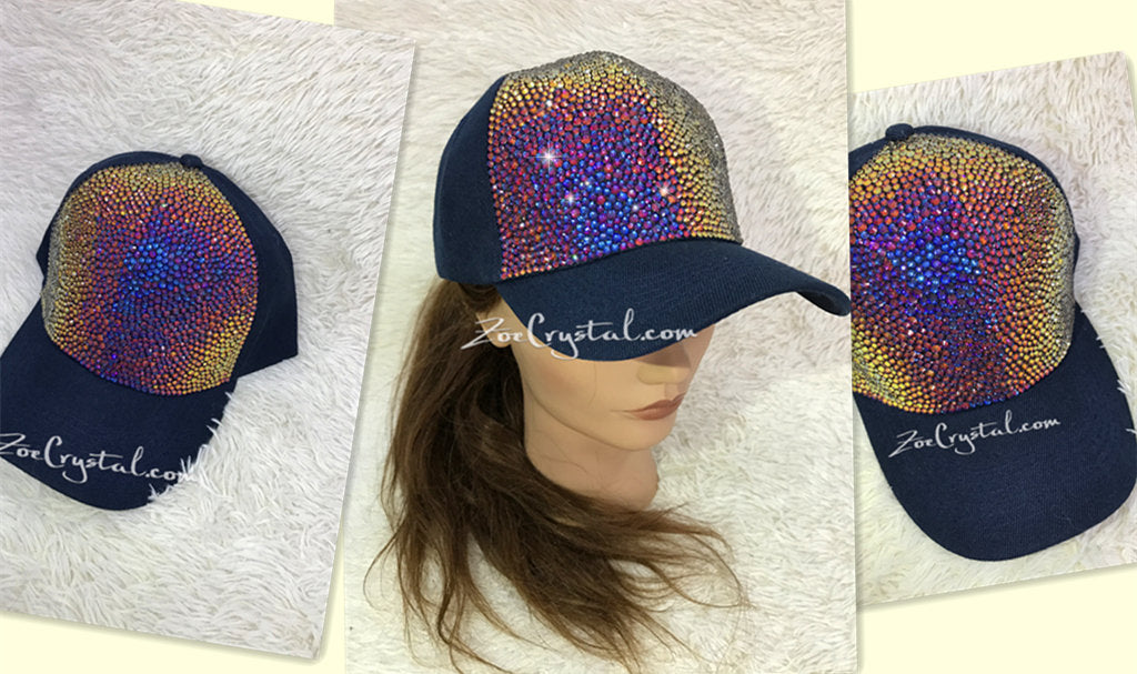 CUSTOMIZED BLING CAP / Hat Bedazzled with Rainbow Volcano Crystal Rhinestone Glitter Shinny Sparkly - Swarovski is avaialble