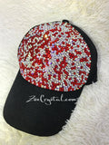 CUSTOMIZED BLING CAP / Hat Bedazzled with Red and ab white Crystal Rhinestone Glitter Shinny Sparkly - Swarovski is avaialble