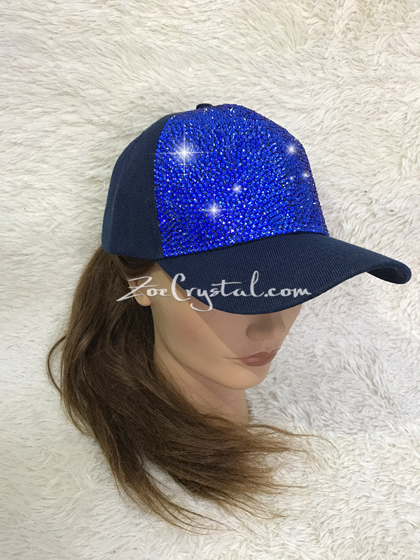 CUSTOMIZED BLING CAP / Hat Bedazzled with Navy Blue Crystal Rhinestone Glitter Shinny Sparkly - Swarovski is avaialble