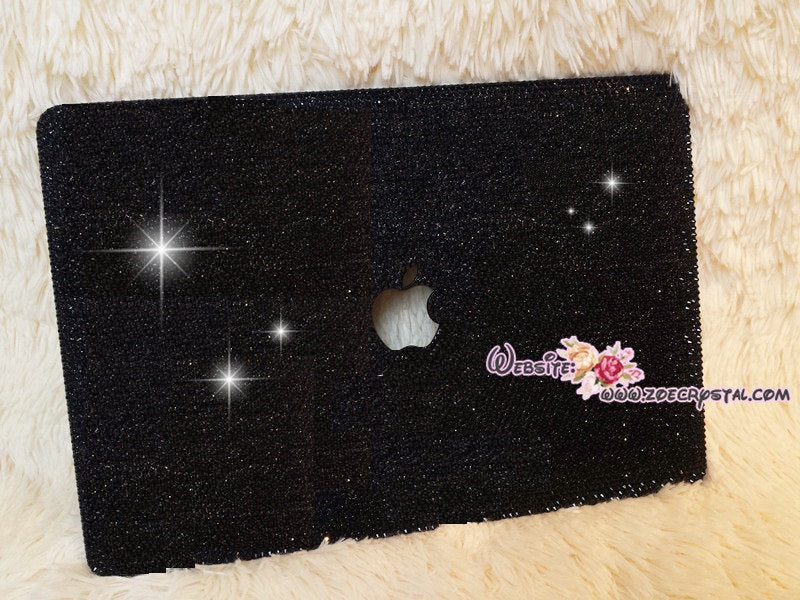 MACBOOK Case Cover Air Pro w Black Crystal Rhinestones Bedazzled Sparkly Shinny Glittery Strass Kim Kardashian Kylie Jenner