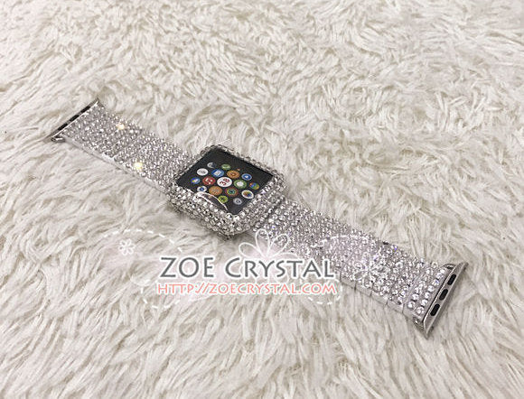 Apple Watch Bling BEDAZZLED Clear white Swarovski Crystal Case Protector Cover Luxury with a White Rhinestone iWatch Band Strap