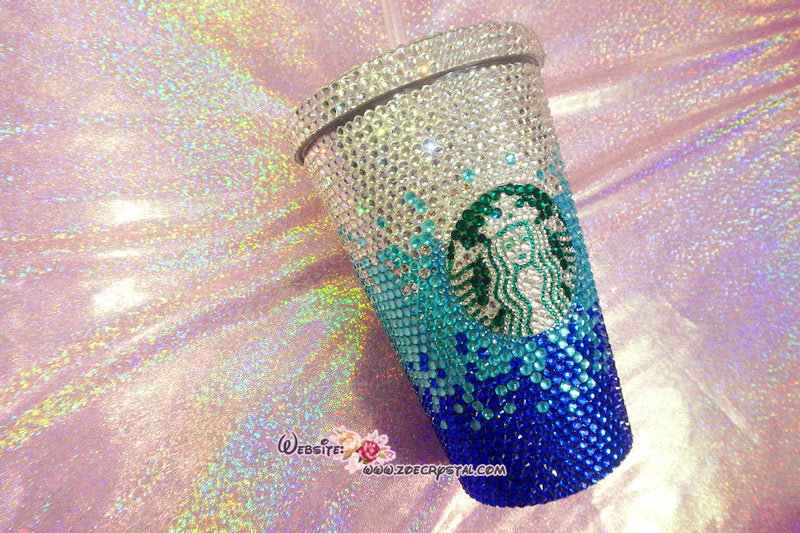 Bedazzled BLING STARBUCKS Coffee Cup / Mug / Tumbler Glitter Sparky Shinny with Swarovski Crystal Rhinestone Diamond Bejeweled Zoe