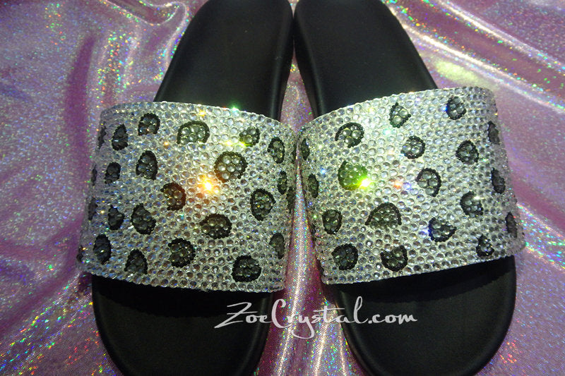 NEW Bling Bedazzled SANDALS SLIDES Slippers with Snow Leopard Print Fashinable Cool Shinny Sparkly Crystal Rhinestone Glitter