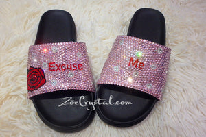 Customized Bling Bedazzled SANDALS / SLIDES / Slippers with Rose and Words Fashionable Cool Shinny Sparkly Crystal Rhinestone Glitter