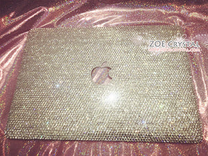 MACBOOK Air Pro Case / Cover Bling and Stylish in Clear White Crystal Rhinestones Bedazzled Sparkly Glowing