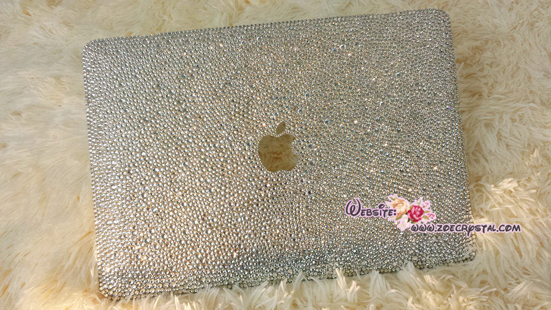 MACBOOK Air Pro Case Cover Clear White Swarovski Crystal Rhinestone Strass Glitter Sparkly Shinny Random Bejeweled