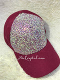CUSTOMIZED BLING Red CAP / Hat Bedazzled with Iridescent ab White Crystal Rhinestone Glitter Shinny Sparkly - Swarovski is available