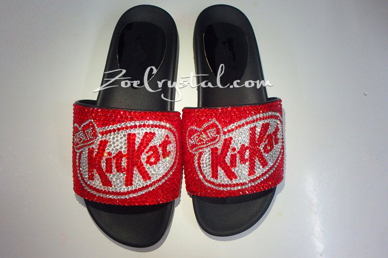 Customize Your SANDALS SLIDES Slippers in Summer Beach, Wedding - Example of Bling Bedazzled Kitkat -  Unique Shinny Swarovski Rhinestone