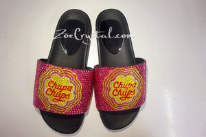 Customize Your SANDALS SLIDES Slippers - Example of Bling Bedazzled Chupa Chups with Stylish Fashionable Unique Shinny Sparkly Rhinestones