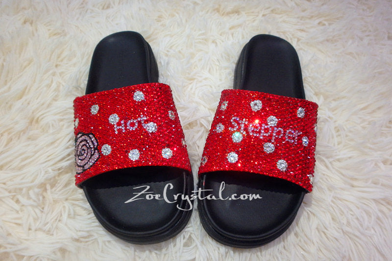 CUSTOMIZE Your SANDALS SLIDES Slippers in Summer Beach, Wedding, Fashion, Vacation w Bling Bedazzled Swarovski Rhinestones - Shinny Sparkly
