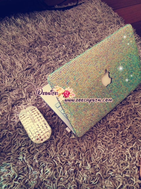 MACBOOK Case / Cover Bedazzled Bling in Aurora Borealis AB White Crystal Rhinestone size Ss20(5mm)