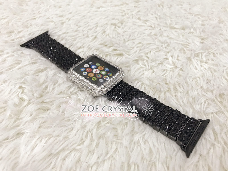 Apple Watch Bling BEDAZZLED Clear white Swarovski Crystal Case Protector Cover Luxury with a Black Rhinestone iWatch Band Strap