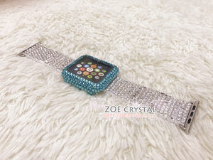 Bling Apple Watch Lake Blue Crystal Case / Protector / Cover with a Silver Swarovski Rhinestone iWatch Band / Strap