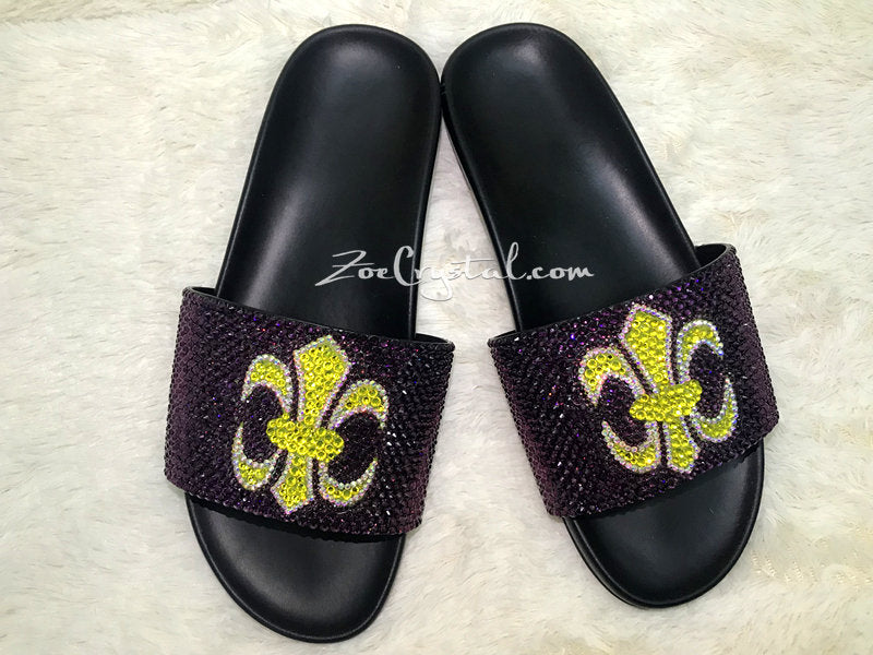 NEW Bling Bedazzled Black SANDALS / SLIDES / Slippers with Yellow Cross Purple Fashinable Cool Shinny Sparkly Crystal Rhinestone Glitter