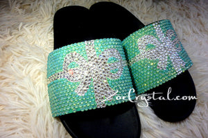 NEW Bling Bedazzled Black SANDALS / SLIDES / Slippers with Tiffany Bow Fashinable Cool Shinny Sparkly Crystal Rhinestone Glitter