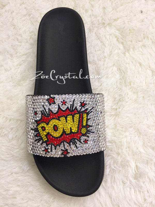 SUMMER Bling Bedazzled SANDALS SLIDES Slippers with the Powerpuff Girls Stylish Fashinable Cool Shinny Sparkly Crystal Rhinestone Glitter