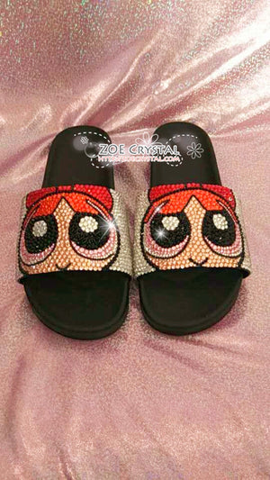 Customize Your SANDALS SLIDES Slippers in Summer Beach, Wedding, Fashion - Example of Bling Powerpuff Girls - Bedazzled Swarovski Rhinestone