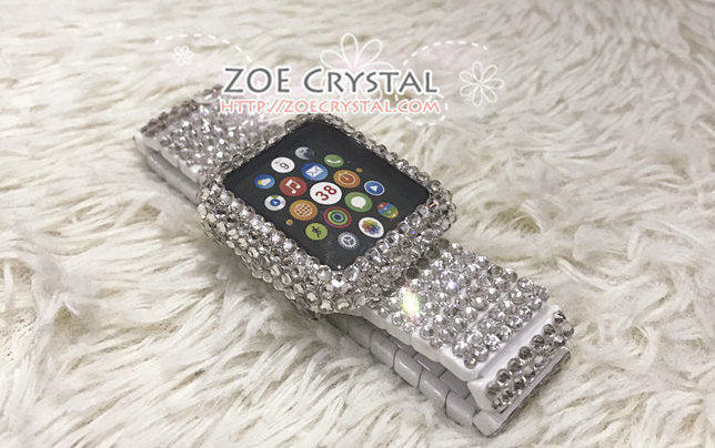 Apple Watch BEDAZZLED  Bling Clear white Swarovski Crystal Case Protector Cover with a Luxury White Rhinestone iWatch Band Strap
