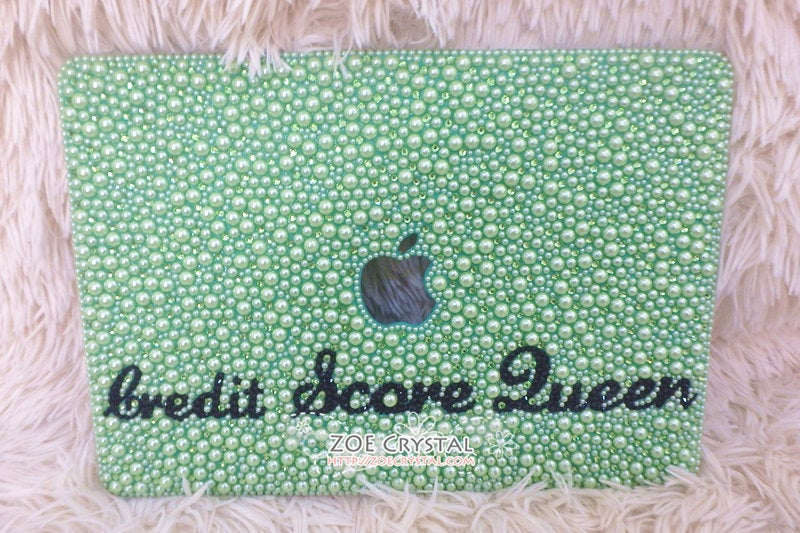 MACBOOK Air Pro Case Cover Bedazzled Bling w Light Green Pearls Swarovski Rhinestone
